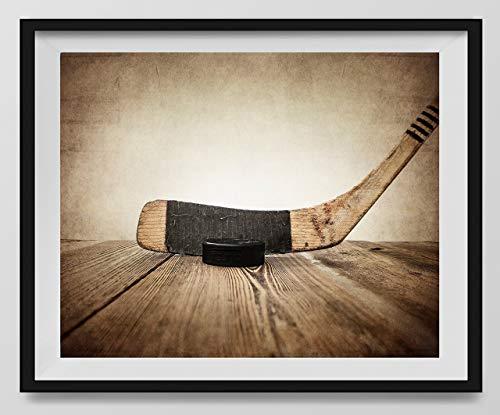 Vintage Hockey Stick and Puck on Vintage Background Fine Art Photography Print (UNFRAMED), Sports Decor, Hockey Nursery decor, Man Cave art, Vintage Sports Nursery Art, Hockey -