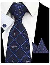 GUSLESON Fashion Men Tie Set Music Plaid Necktie with Handkerchief and Cufflinks (0726-42)