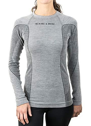 Merino & More Merino Shirt Damen Langarm - Funktionsunterhemd Merinowolle T-Shirt lang