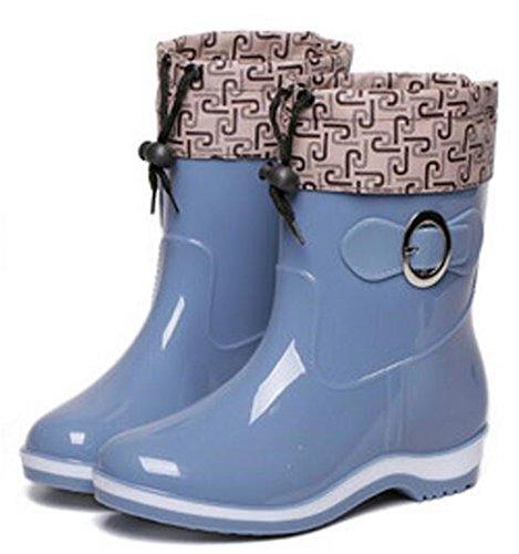 Rubber Shoes Rain SATUKI Blue Adult Women's Antiskid High Boots Ankle Short xT1YxZ