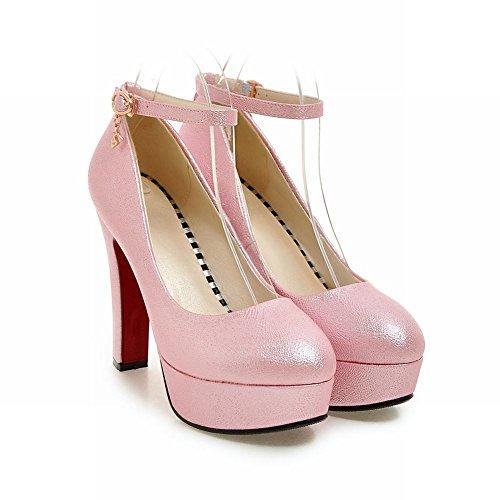 Talon forme Haute Couleur La De Des Unie De Couture Carolbar Femmes Chaussures Cour Rose De Plate xRC6qw177n