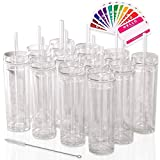 SKINNY TUMBLERS 12 Clear Acrylic Tumblers with Lids