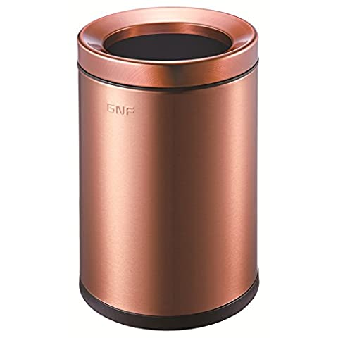 Dustbins fuckluy Round household living room bedroom kitchen stainless steel double pressure ring cover the trash, 6L (6 Stainless Steel Trash Ring)