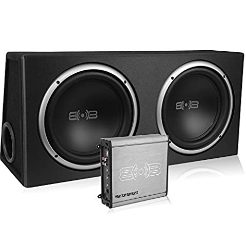Belva 1000 watt Complete Car Subwoofer Package includes Two (2) 10-inch Subwoofers in Ported Box, Monoblock Amplifier, Amp Wire Kit (Car Subwoofers)