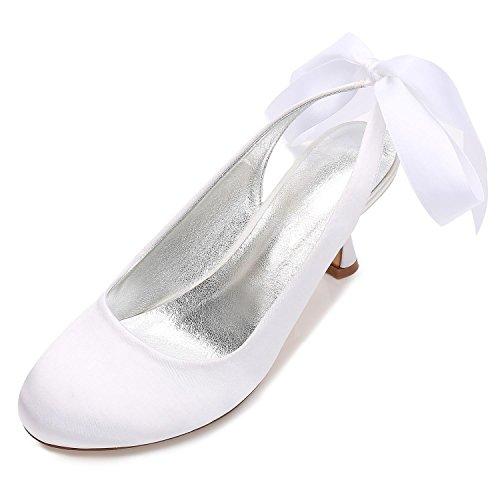 Con Punta Cerrada 17061 46 De yc Boda Zapatos Medium T Para L Novia Blanco Mujer vRqpZAxw