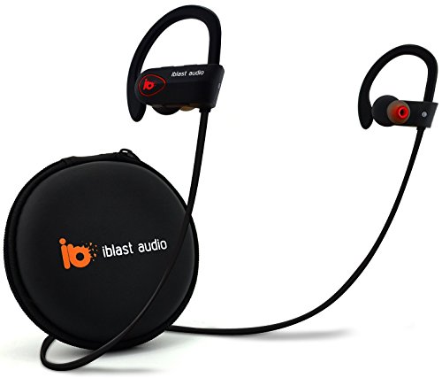 Price comparison product image iblast audio Bluetooth Earbuds Best Wireless Headphone w/ Mic IPX7 Sweatproof Waterproof HD Stereo Earphone Running Workout Gym 8 Hour Long Battery Life Noise Cancelling Headset Comfortable Secure Fit