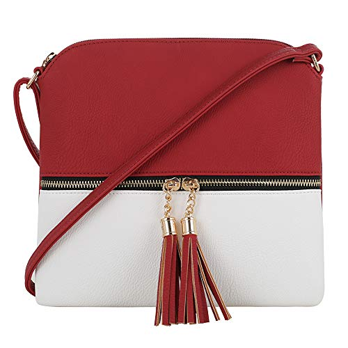 (SG SUGU Lightweight Medium Crossbody Bag with Tassel and Zipper Pocket (Red/White))