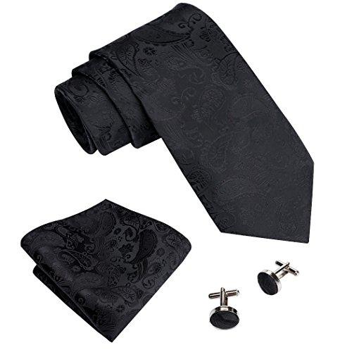 - Barry.Wang Solid Black Tie Set Handkerchief Cufflinks for Men Silk