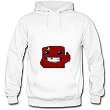 Gramed Men's Super Meat Boy Printed Cotton Hoodies Sweatshirts 3XL White