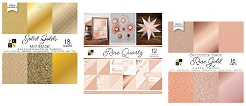 72 Sheets Mix of 6x6 and 12x12 Inch Rose Gold and Gold Cardstock Paper | Metallic, Glitter, White, Shimmer, Matte | Heavy Card Stock for Scrapbook, Origami, Cards, Invitations | 3 Stacks Set by DCWV