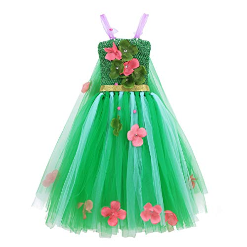 FEESHOW Kids Girls Rainbow Tutu Dress Halloween Fancy Dress up Costumes Party Outfit with Headband Green Flowers 6-7 for $<!--$16.39-->