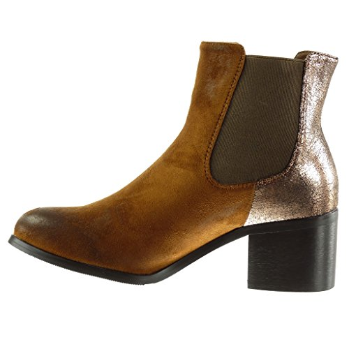 Angkorly Bloc 5 Fourrée Vieilli Brillant Mode Bottine Camel Talon Cm Chelsea Intérieur Clouté Femme Chaussure Effet Haut Boots 5 rgyc7Ty6