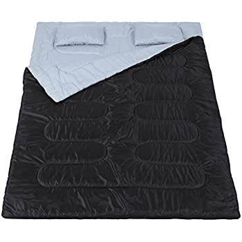 """Best Choice Products Huge Double Sleeping Bag with 2 Pillows, 86"""" x 60"""", Black"""