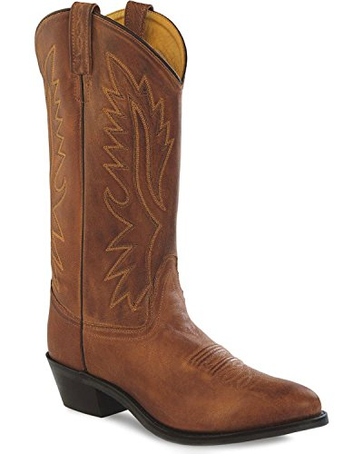 Boot Canyon Leather (Old West Tan Canyon Mens Polanil Leather Round Toe 13in Cowboy Boots 9 D)