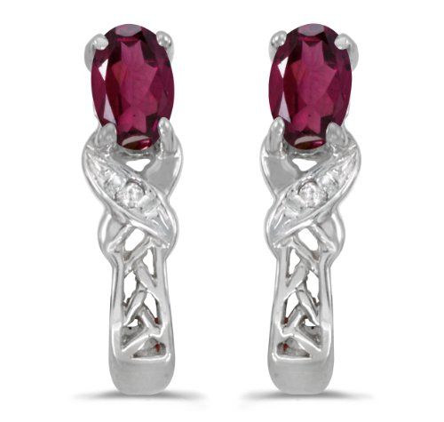 0.46 Carat (ctw) 10k White Gold Oval Red Rhodolite-Garnet and Diamond Infinity Weave Pattern Stud Earrings with Post with Friction Back (5 x 3 MM)