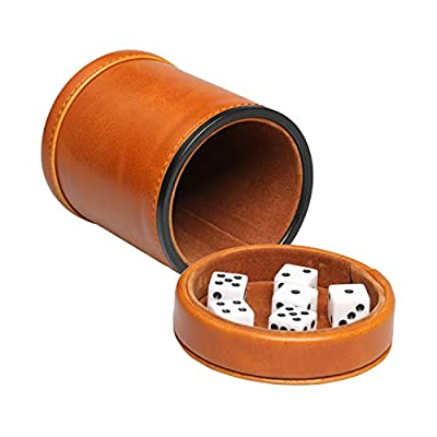 RERIVER Leatherette Dice Cup with Lid Includes 6 Dices, Velvet Interior Quiet in Shaking for Liars Dice Farkle Yahtzee Board Games, Brown: Toys & Games