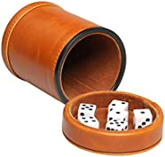 RERIVER Leatherette Dice Cup with Lid Includes 6 Dices, Velvet Interior Quiet in Shaking for Liars Dice Farkle
