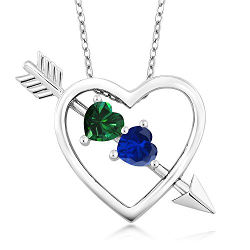 (Gem Stone King Sterling Silver Green Simulated Emerald and Blue Simulated Sapphire Heart & Arrow Pendant Necklace 0.96 Ct with 18 Inch Chain)