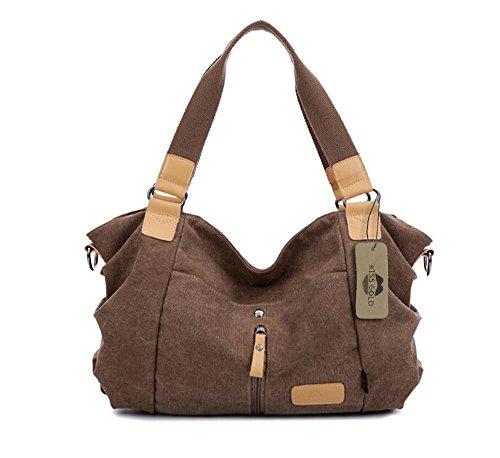 KISS GOLD(TM) Leisure Canvas Travel Top Handle Bag Tote Handbags Shoulder Bag(Khaki)