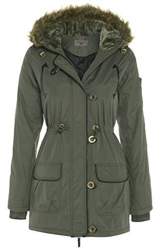 Vert Uni Manches Parka Manteau Green SS7 longues Femme Khaki Clothing qx0wO6BtP1