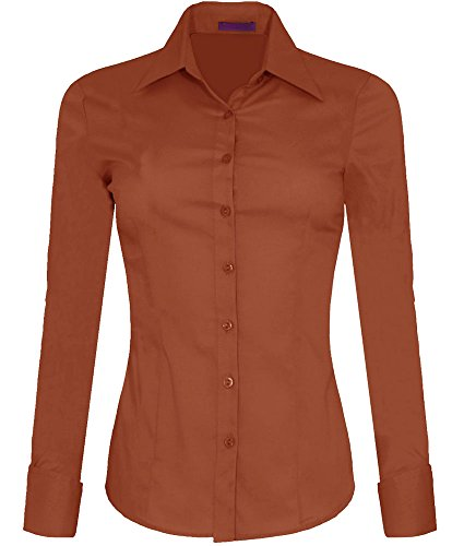 Iron Puppy Womens Long Sleeve Skinny Button Down Collared Shirts With Stretch Mideum Rust