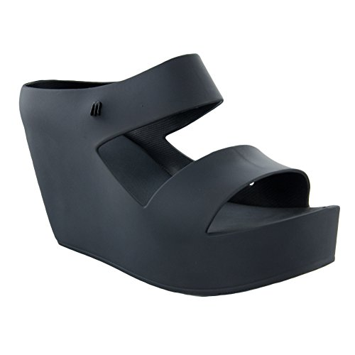 Sculpted Heel Platform Sandal (Melissa Women's Creative Wedge Sandals, Black, 7 B(M) US)