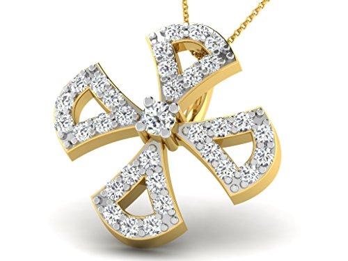 Or Jaune 14 ct Pendentifs Diamant en forme de fleur, 0.1 Ct Diamant, GH-SI, 0.49 grammes.