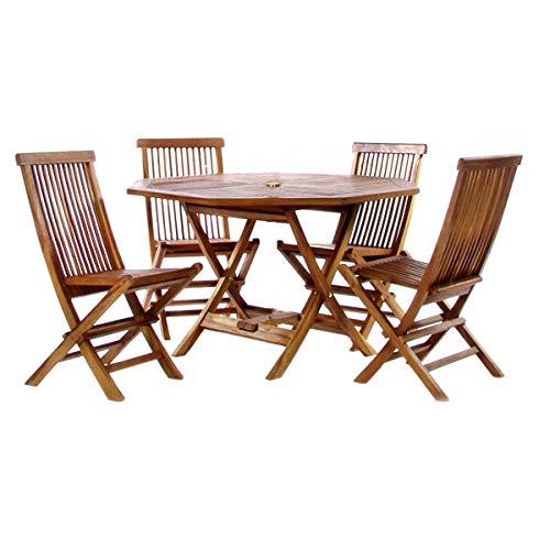 (All Things Cedar TT5P-O Teak Octagon Table Set, 5-Piece)