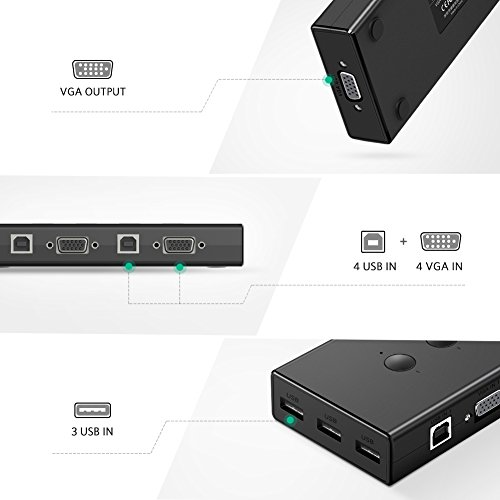 UGREEN USB KVM Switch Box, 4 IN 1 OUT VGA Switch 1080P Sharing Video Adapter with 3 Port Extended USB Hub Conveniently for you to control multi devices like Computer PC Laptop Desktop with One Monitor by UGREEN (Image #6)