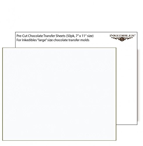 YummyInks Brand: Unprinted Chocolate Transfer Sheets 50 sheets - 11in x 7in