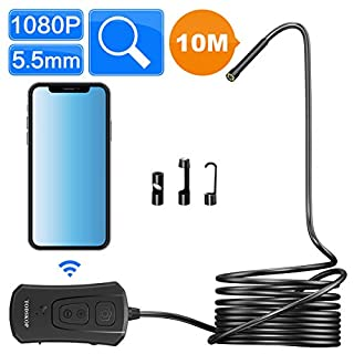 Wireless Endoscope Camera, TODSKOP 5.5mm WiFi Borescope 1080P Semi-Rigid IP67 Waterproof Inspection Camera, 2.0MP HD Snake Pipe Camera 1800mAh Battery for Android and iOS iPhone, Tablet (33FT)