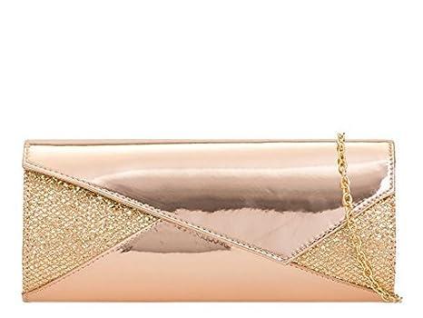 haute pour DIVA 'S NEUF asymétrique Rabat Cuir Verni Paillettes Brillant Brillant Sac Pochette Soirée Porte-monnaie - Noir, Medium