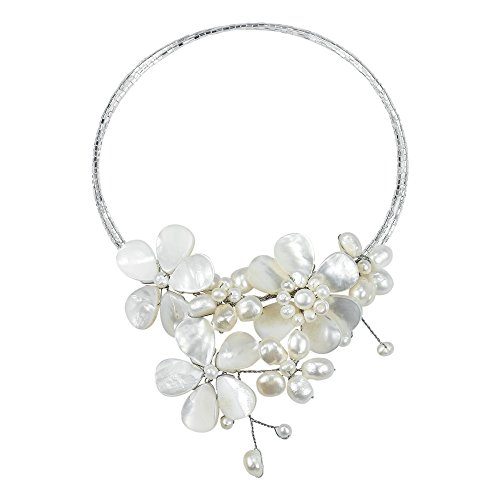 Flower Mother Shell Cultured Pearls Glass Necklace product image