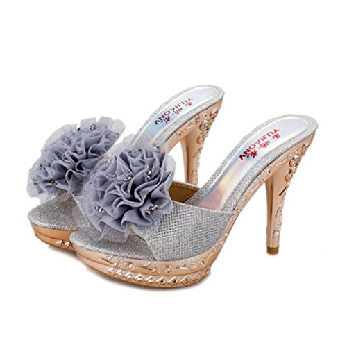 DM&Y 2017 del p¨¢rrafo del verano finas sandalias de tac¨®n alto impermeables deslizadores de la palabra de arrastre grandes flores femeninas nobles Silver