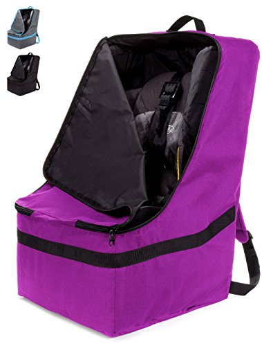 ZOHZO Car Seat Travel Bag — Adjustable, Padded Backpack for Car Seats — Car Seat Travel Tote — Save Money, Make Traveling Easier — Compatible with Most Name Brand Car Seats (Purple with Black Trim) by Zohzo (Image #10)