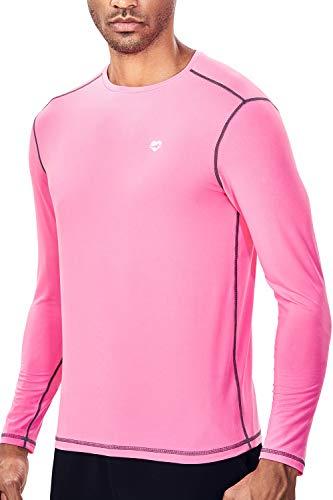 - Mens Base Layer Tech Long Sleeve Undershirt for Men (XL, Neon Pink)