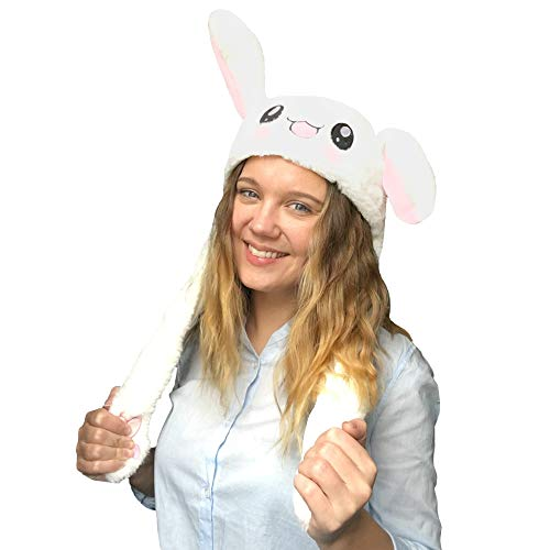 JSVER Funny Plush Bunny Hat/Cute Animal Hat/Rabbit Hat with The Ears Popping Up When Pressing The Paws White]()