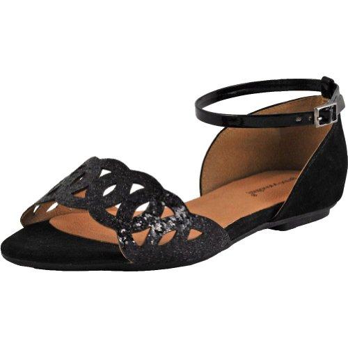 Bruno Menegatti 2121203 Kvinna Cross Ring Läder Sandal Svart
