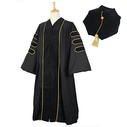 GraduationMall Deluxe Doctoral Graduation Gown Black Velvet with Gold Piping for Faculty and Professor 54(5'9''-5'11'') by GraduationMall