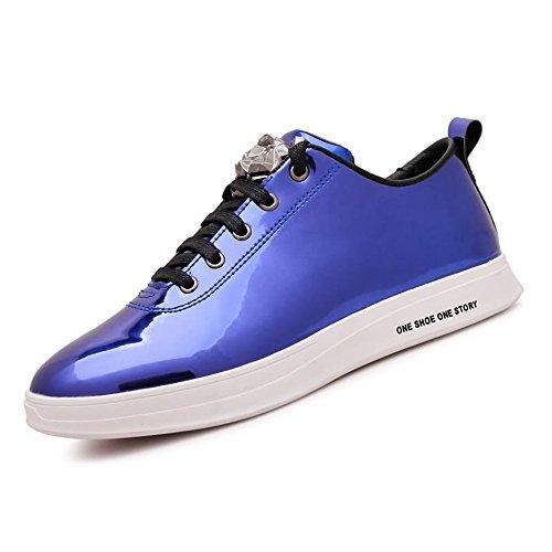 in Tacco Verniciata da da Scarpe Pelle Uomo Scarpe Blue con Piatto Cricket Casual xX50pqt