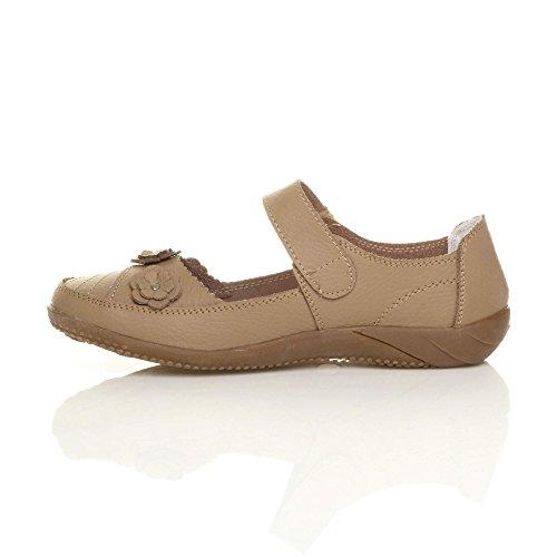Damen Echtleder Breit Leder Ballerinas Geschlossene Slipper Arbeit Komfort Klettverschluss Schuhe Größe Beige Taupe