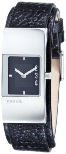 Fossil Women's JR9674 Black Leather Strap Black Analog Dial Watch