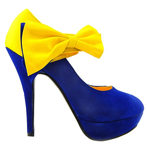 SHOW STORY New Ladies Blue Yellow Bow Ankle Strap Stiletto Platform Pumps,LF30412YL41,9.5US,Blue