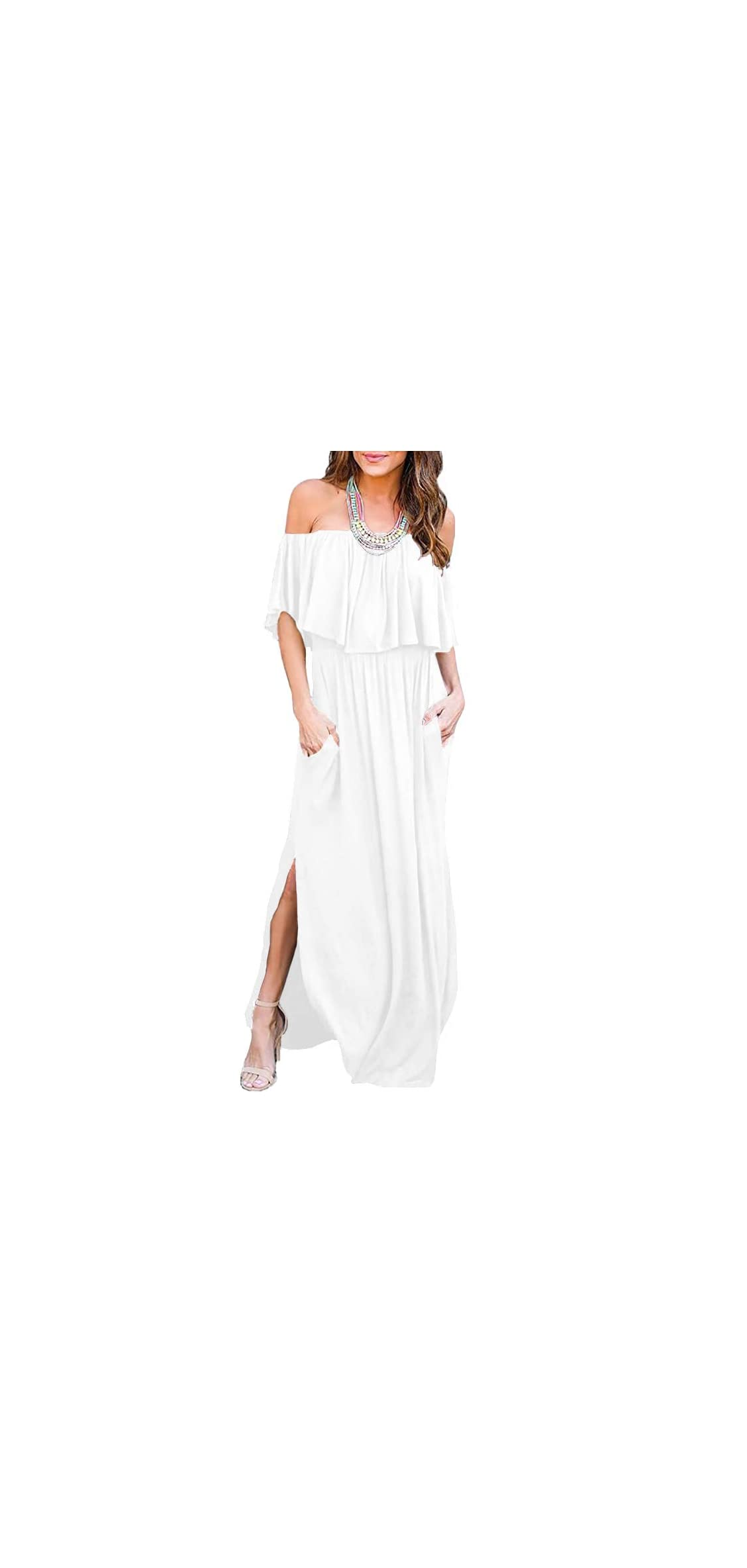 Womens Off The Shoulder Ruffle Party Dresses Side Maxi