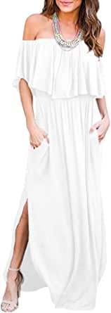 LILBETTER Womens Off The Shoulder Ruffle Party Dresses Side Split Beach Maxi Dress