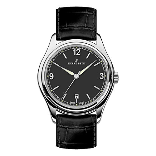 Pierre Petit P-837A Swiss Leather-Band Watch - Silver/Black
