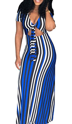 Long Out Dress Stylish Maxi Front V Club Neck Striped Cut Domple Tie Womens Blue Cq8qvU