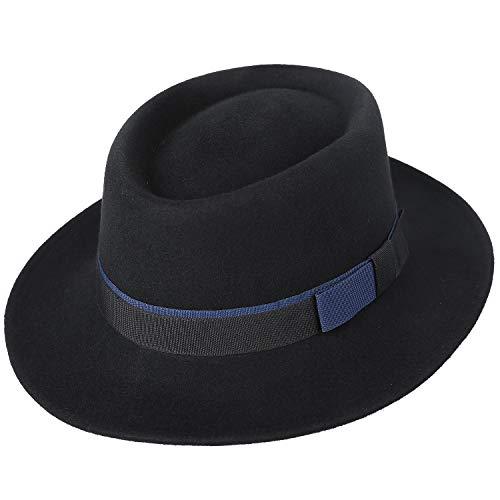 Janetshats Men s Wool Felt Pork Pie Fedora Hat Crushable Boater Derby  Ribbon Cap … f3804217dd4