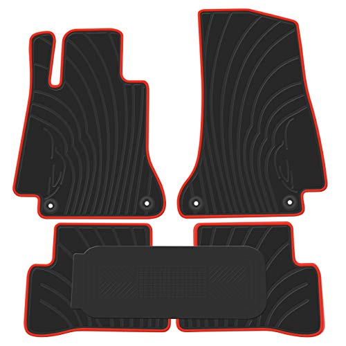 biosp Car Floor Mats for Mercedes Benz C-class W205/S205 2014-2019 Front And Rear Heavy Duty Rubber Liner Set Black Red Vehicle Carpet Custom Fit-All Weather Guard Odorless
