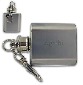 Frasco de bolsillo con llavero con texto grabado: Agathi (nombre de pila/apellido/apodo)